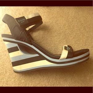 Coach brand wedge heel sandals